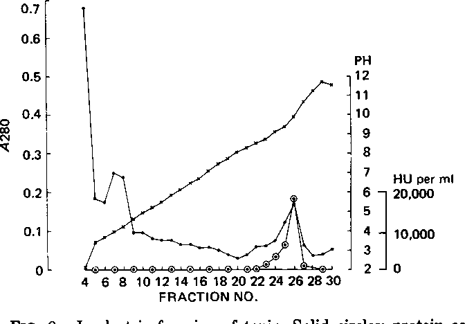 FIG. 2. Isoelectric focusing of toxin. Solid circles: protein as 280 nm absorbance; open circles: toxin as hemolytic activity; crosses: pH.