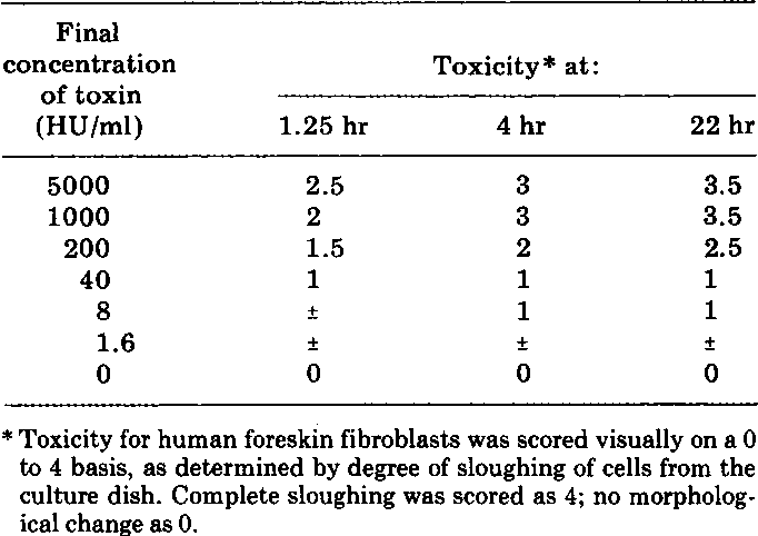 Table 4. Cytopathic effect of toxin on cultured human fibroblasts