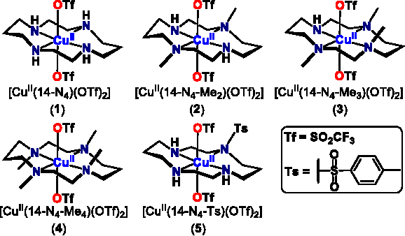 Figure 2 . Structures and ligand abbreviations for Cu(II)-cyclam complexes produced in this work.