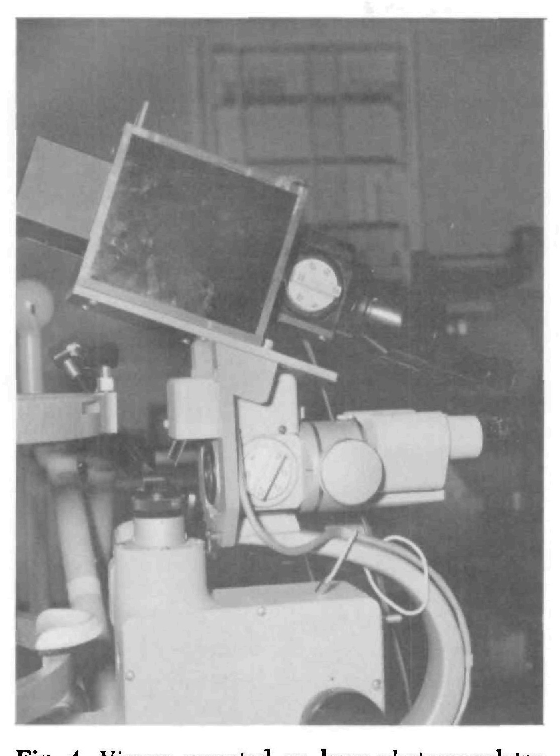 Fig. 4. Viewer mounted on laser photocoagulator slit lamp.