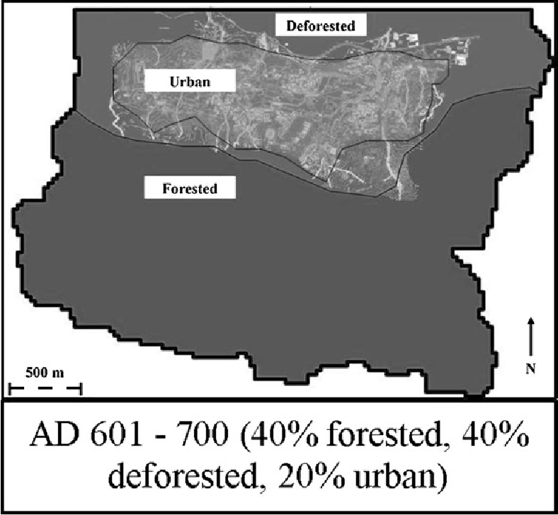 Fig. 4 Estimated landcover for the Palenque watershed from AD 601–AD 700