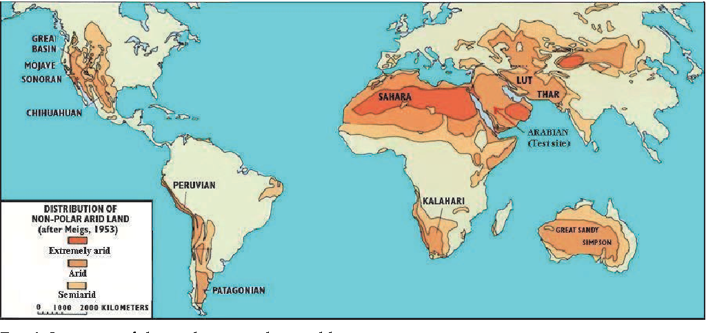 Fig. 1. Location of the arid area in the world