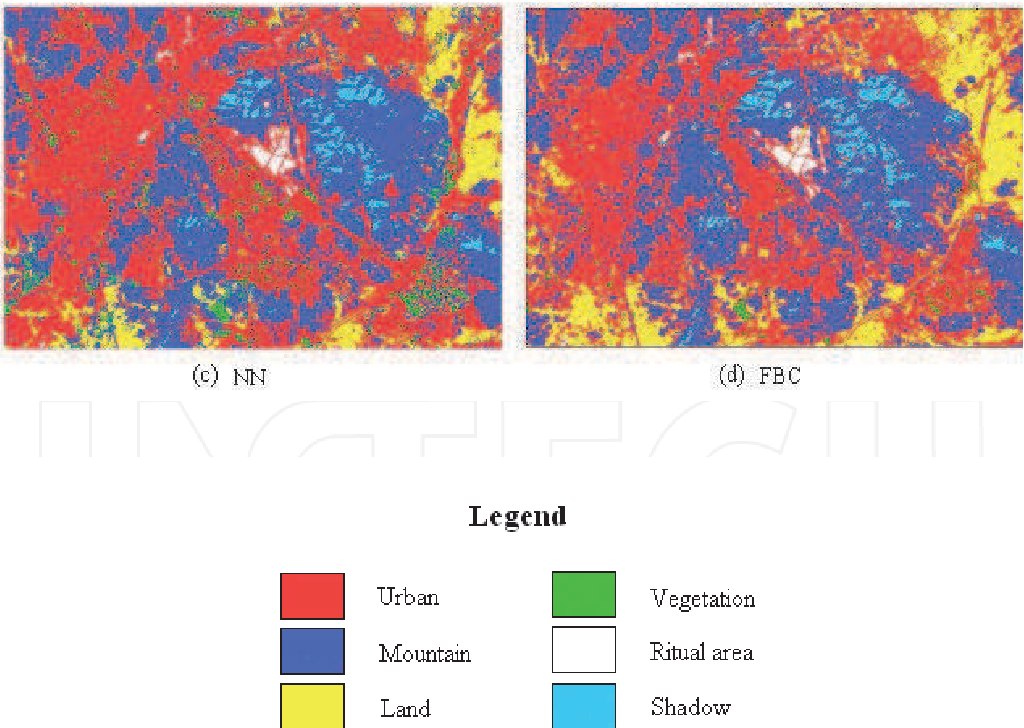 Fig. 10. Result of land cover classification using (a) MD, (b) ML, (c) NN and (d) FBC
