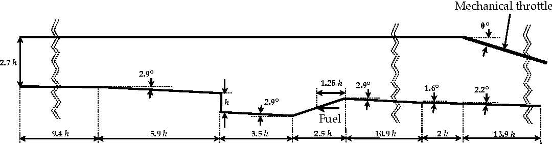 Figure 2: Schematic of the flow configuration. Cavity depth is 16.5 mm.