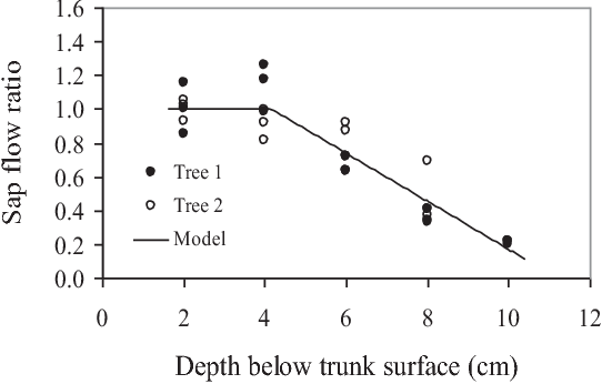 figure 1 radial sap flux density of two rubber trees  tree 1 is a large