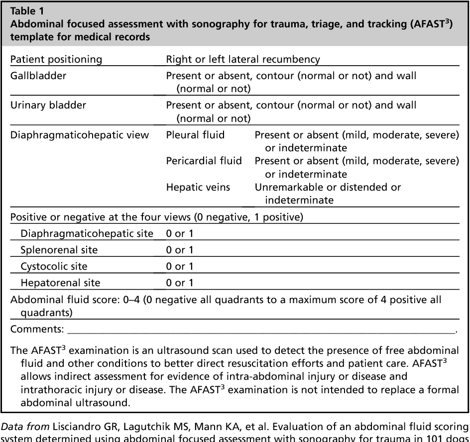 The Use Of Ultrasound For Dogs And Cats In The Emergency Room Afast