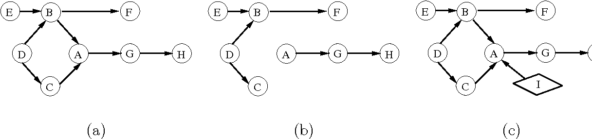 Figure 1: (a) A causal DAG. (b) Structure of the causal graph under some intervention that sets the value of A to a constant. (c) Structure of the causal graph under some intervention that changes the distribution of A.