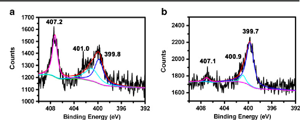 Fig. 4 N 1 s XPS narrow-scan spectra of the glass slide obtained from PAM a under aqueous condition and b under anhydrous condition