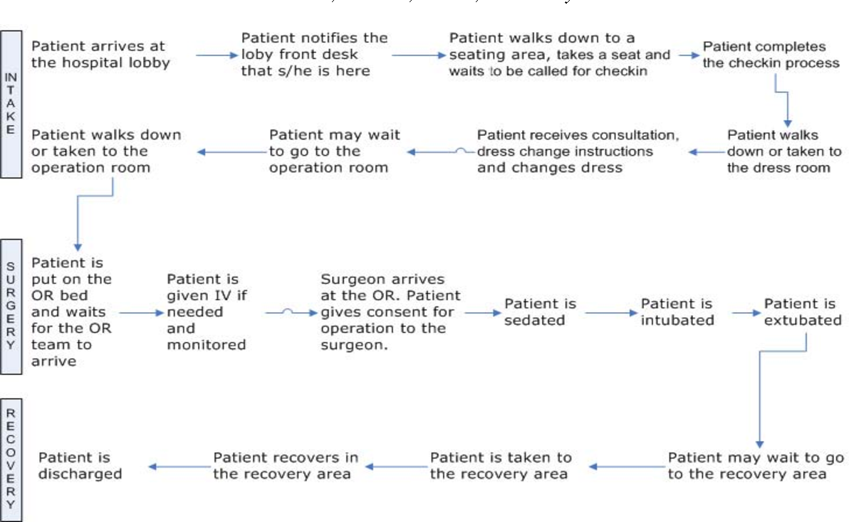Figure 2 Illustration Of The Detailed Process For Patient Flow Through Endoscopy Suite From