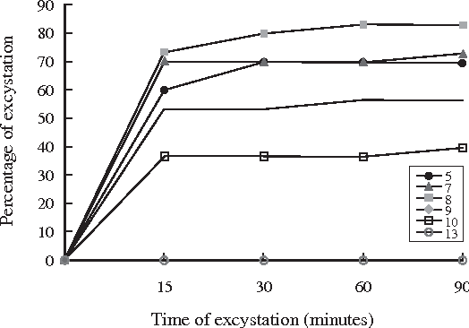 Fig 4- Excystation of Haplorchis taichui metacercariae in varying acid-base environments (pH=5, 7, 8, 9, 10 and 13) with the presence of 1% trypsin solution and a temperature set at 39˚C.