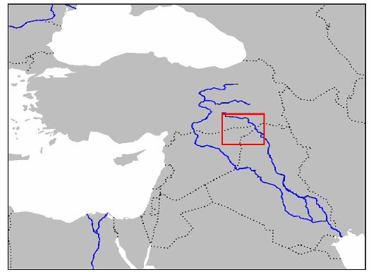 Fig 1: Map of the region under study. The Khabur basin is in the north of Mesopotamia (Euphrates and Tigris indicated).