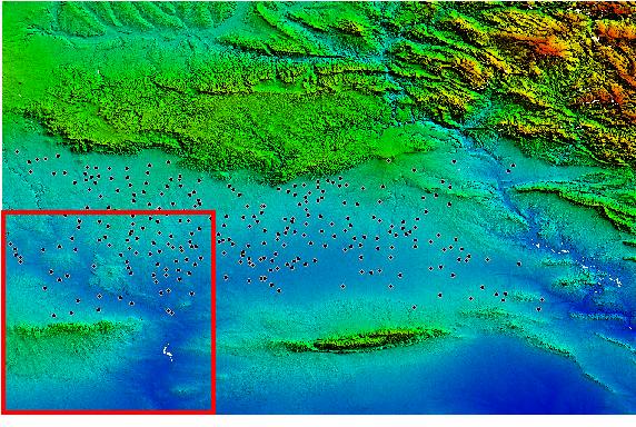 Fig 2: Digital elevation model of the Khabur basin with settlement mount positions indicated (black dots). Tells of the southwestern SRTM tile (red bordered) serve as test sites.