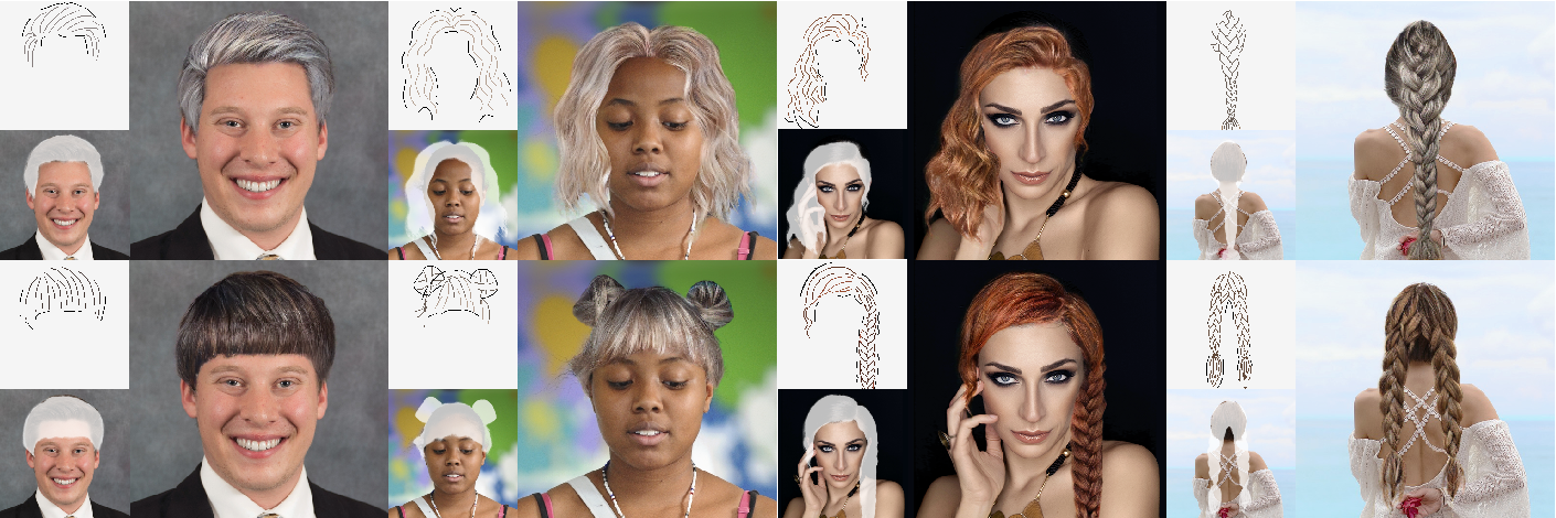 Figure 1 for SketchHairSalon: Deep Sketch-based Hair Image Synthesis
