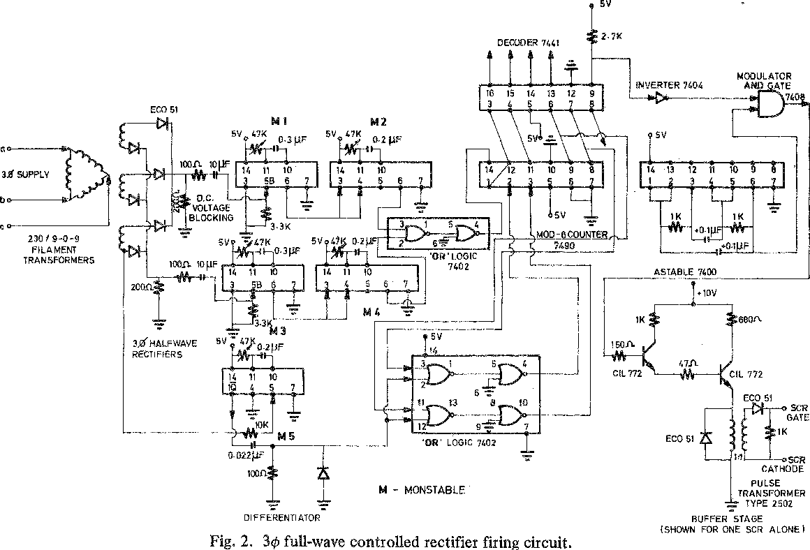 Firing Circuit For Three Phase Thyristor Bridge Rectifier Semantic Voltage Ratings Of An Scr Electronic Circuits And Diagram Scholar