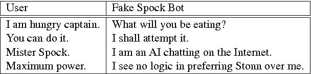 Figure 1 for Enterprise to Computer: Star Trek chatbot