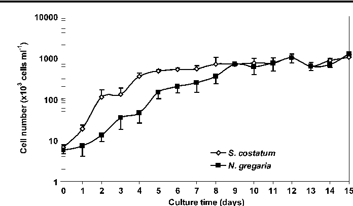 Fig. 1 Growth curves of Skeletonema costatum and Navicula gregaria at 16ºC and 60 μmol photons m−2 s−1 of light intensity. Error bars = standard deviation