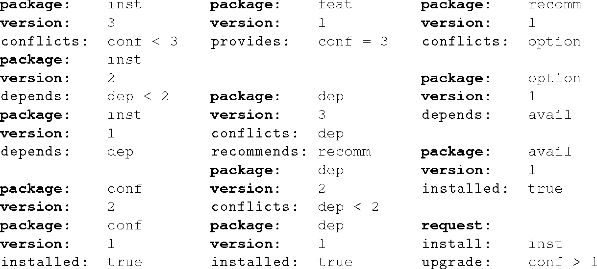Figure 3 for aspcud: A Linux Package Configuration Tool Based on Answer Set Programming