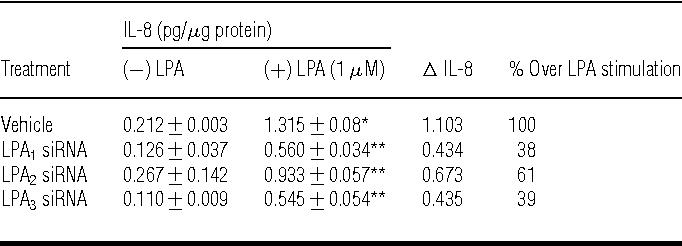 Table 2 Effect of LPA1−3 siRNA on LPA-induced IL-8 secretion