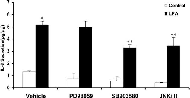 Figure 3 Effect of MAPK inhibitors on LPA-induced IL-8 secretion