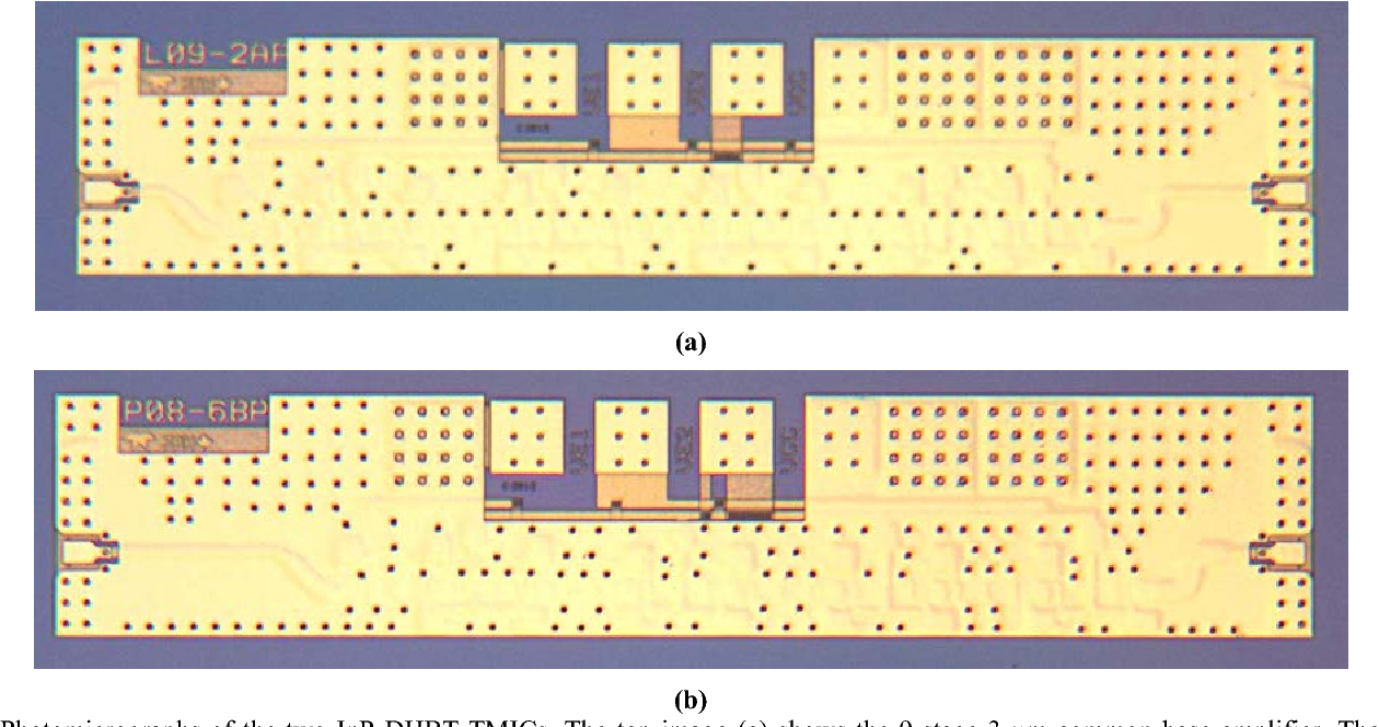 Figure 3 From Inp Hbt Amplifier Mmics Operating To 067 Thz Terahertz Transistors Fig Photomicrographs Of The Two Dhbt Tmics Top Image