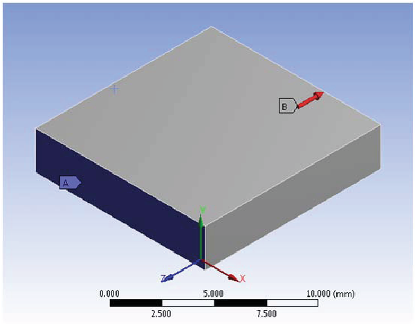 Figure 5.14. Finite element analysis setup for force characterization of variable interdigitated capacitor.