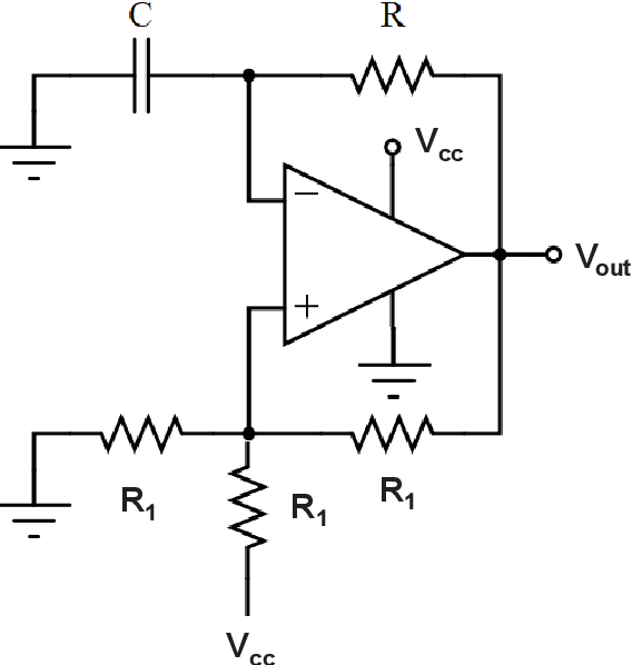 Figure 5.20. Schematic showing relaxation oscillator circuit for capacitance to frequency conversion.