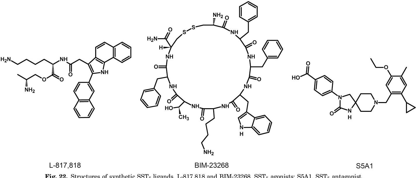 Fig. 22. Structures of synthetic SST5 ligands. L-817,818 and BIM-23268, SST5 agonists; S5A1, SST5 antagonist.