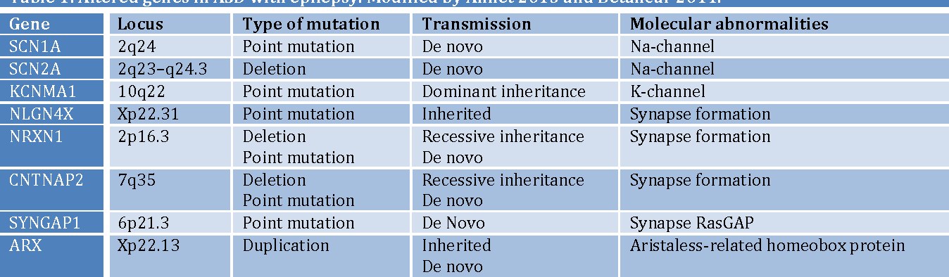 Table 1: Altered genes in ASD with epilepsy. Modified by Amiet 2013 and Betancur 2011.
