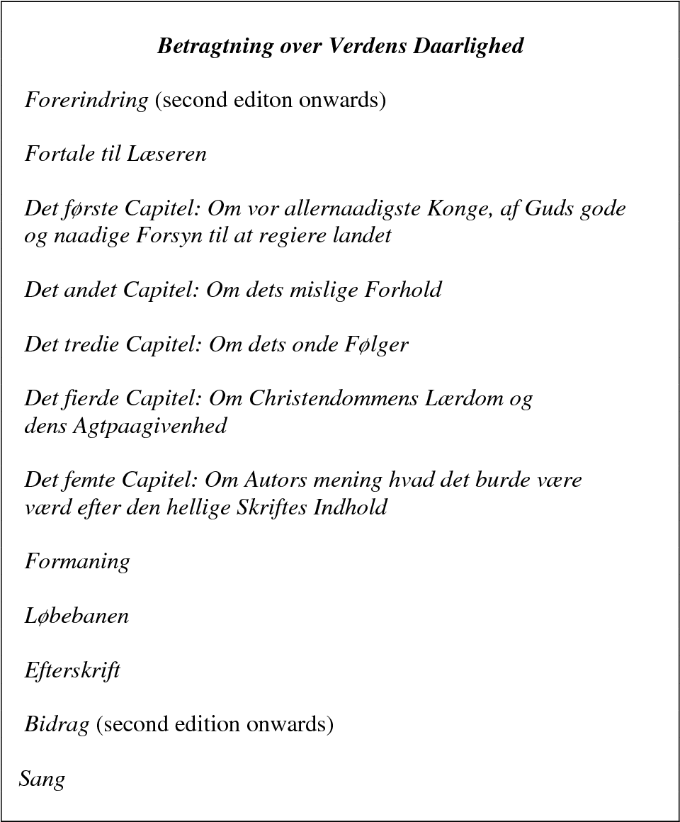 Table 4: The contents of Betragtning over Verdens Daarlighed (1796)