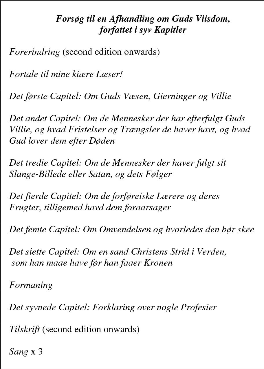 Table 5: The contents of Forsøg til en Afhandling om Guds Viisdom (1796)
