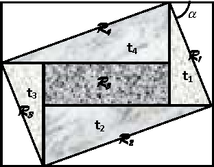 Figure 7: Representation of the rectangle r, rotated by an angle α. r is divided into four triangles and one rectangle in the middle for class Rhla and six triangles and one rectangle in the middle for class Rhlb.