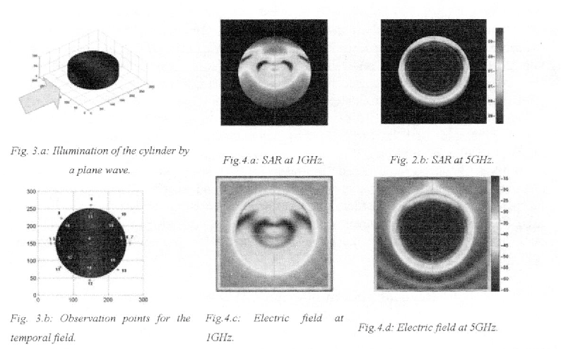 Fig. 3.a: Illuminahon ofthe cylinder by Fig.4.a:5ARatlGH2 Fig 2b:5AR at5GHz.