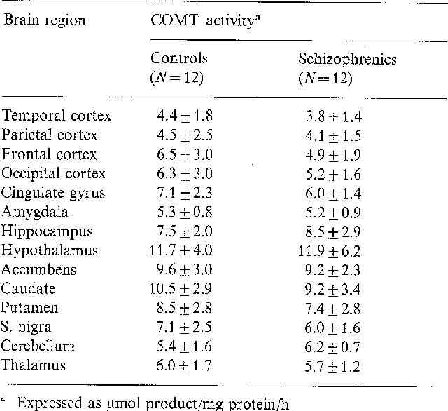 Table 3. Regional COMT activity in the brains of schizophrenics and controls (mean • SD)