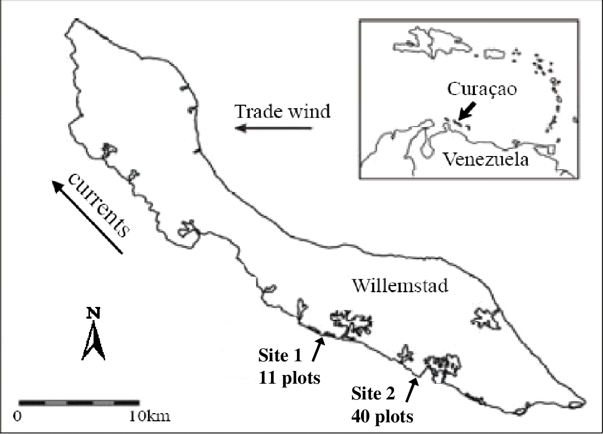 Figure 2-1: Location of sampling sites. Site 1 was surveyed in November 2005 and Site 2 in November 2006.
