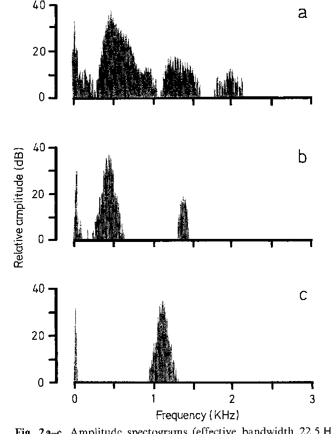 Fig. 2a-c. Amplitude spectograms (effective bandwidth 22.5 Hz) of a natural mating call of Rana temporaria males (a), and of two synthetic acoustic signals (b, c) used in the experiments