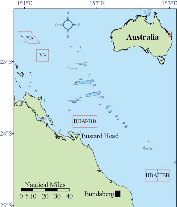 Figure 6-2: Location of Queensland's Scallop Replenishment Areas. YA = Yeppoon A, YB = Yeppoon B, BHA = Bustard Head A, BHB = Bustard Head B, HBA = Hervey Bay A and HBB = Hervey Bay B.