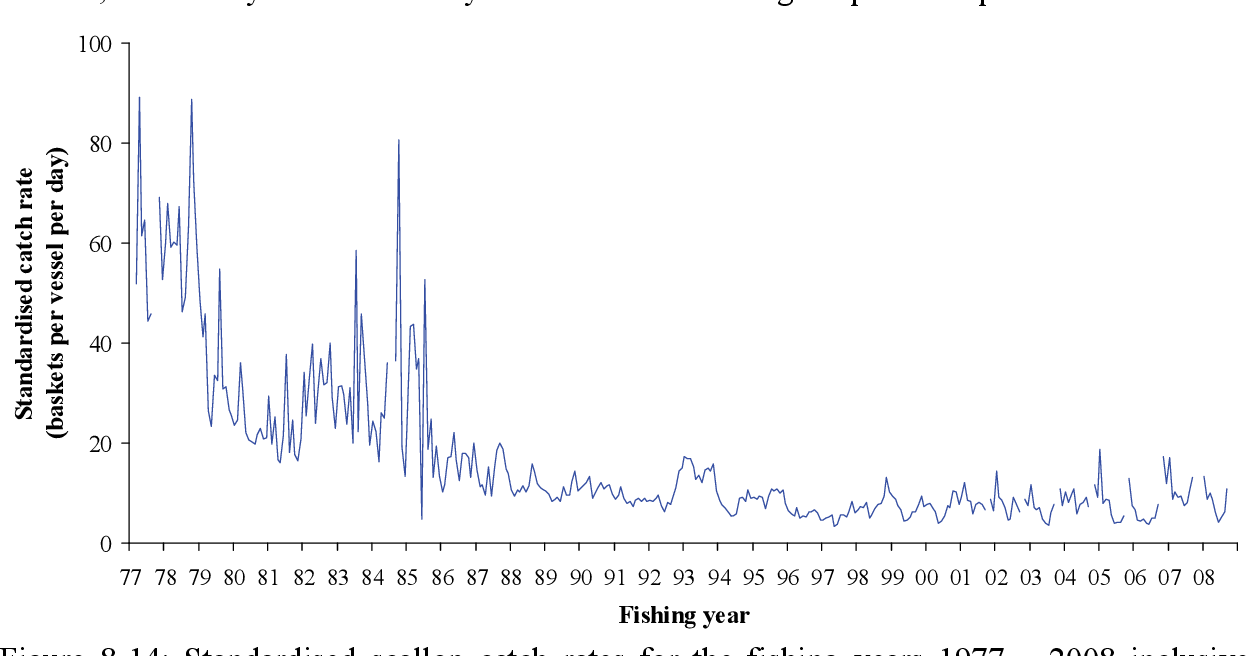 Figure 8-14: Standardised scallop catch rates for the fishing years 1977 – 2008 inclusive. Catch rate data derived from both mandatory and voluntary logbooks. Mandatory logbooks were introduced in 1988. Note: catch rate data from October are excluded from 2000 to present due to the effect of the temporal closure which occurs from 15 September to the 31 October, annually.