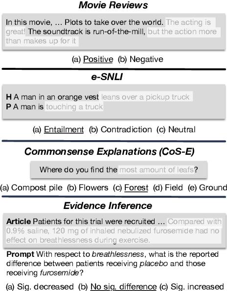 Figure 1 for ERASER: A Benchmark to Evaluate Rationalized NLP Models