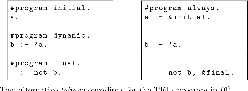 Figure 1 for Temporal Answer Set Programming on Finite Traces