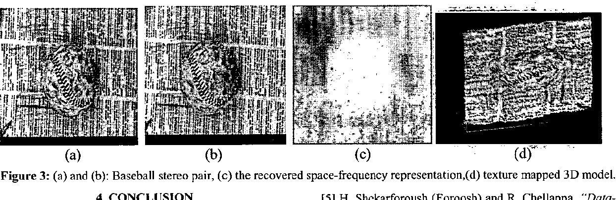 Figure 3: (a) and (b): Baseball stereo pair, (c) the recovered space-frequency representation,(d) texture mapped 3D model.