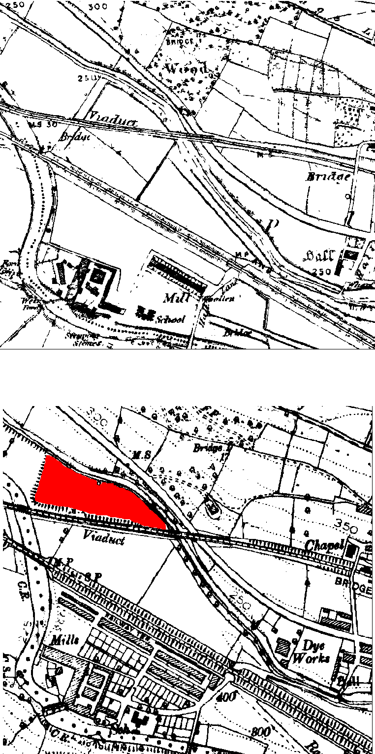 Figure B.1 Historical Ordinance Survey maps from 1899 (top) and 1914 (bottom) depicting the appearance of the COPR landform (shaded red), as well as the location of the Dye Works. 1:10560 County series first edition, 1849, 1888. © Crown Copyright and Landmark Information Group Limited 2009. All rights reserved 1848-1914.