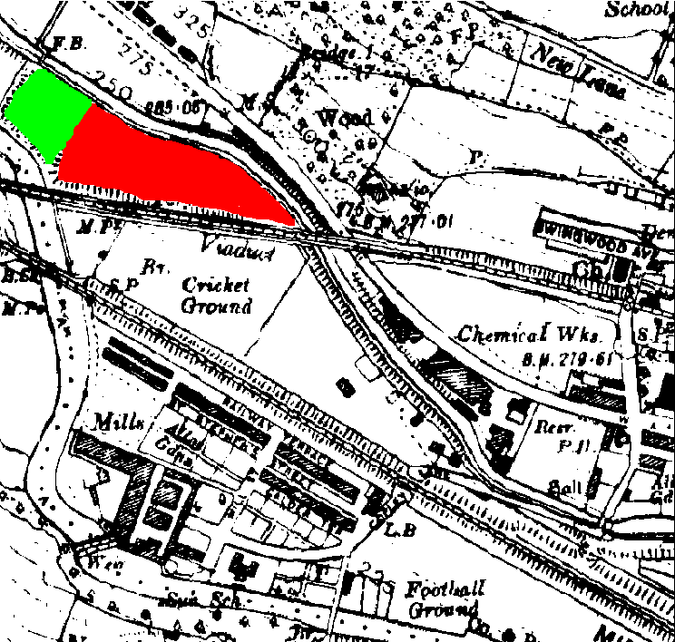 Figure B.2 Historical Ordinance Survey map from 1922 showing the appearance of the second landform (shaded green) to the west of the COPR (shaded red). 1:10560 County series third revision, 1922. © Crown Copyright and Landmark Information Group Limited 2009. All rights reserved. 1922- 1969.