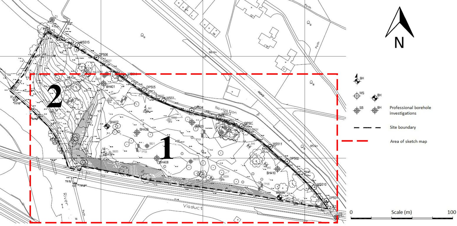 """Figure 2.3 Professional plan of the """"old tip"""" showing the location of two distinct landforms, and boreholes produced during professional site investigations (From WYG report 2005, edited to remove proprietary information)"""