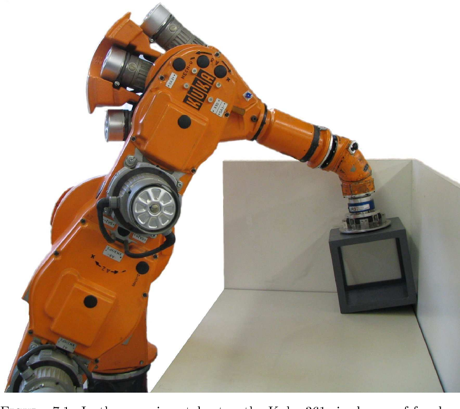 Figure 7.1: In the experimental setup the Kuka 361 six degree of freedom industrial robot manipulates a cube in contact with a corner.