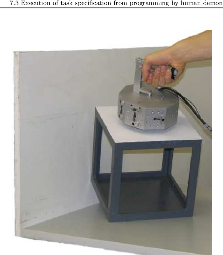 Figure 7.11: In the experiments to validate the presented approach a human demonstrator uses a demonstration tool to manipulate a cube in contact with three perpendicular faces.