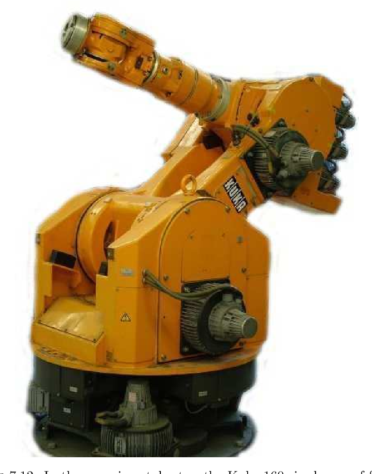 Figure 7.12: In the experimental setup the Kuka 160 six degree of freedom industrial robot is used.