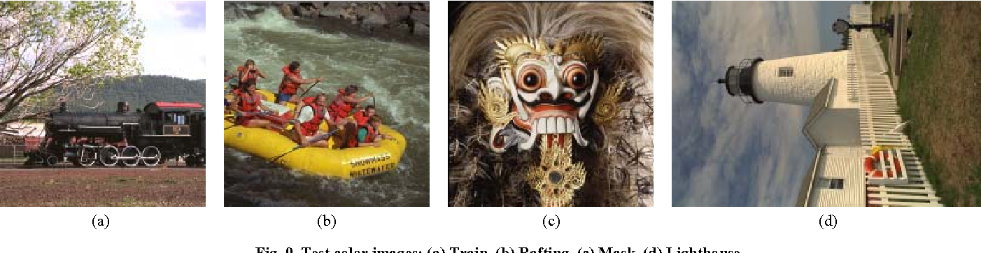 Fig. 9. Test color images: (a) Train, (b) Rafting, (c) Mask, (d) Lighthouse.