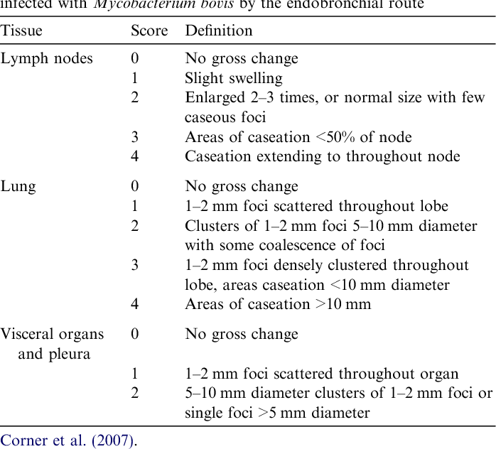 Table 2 Definitions of severity scores for gross lesions in badgers experimentally infected with Mycobacterium bovis by the endobronchial route