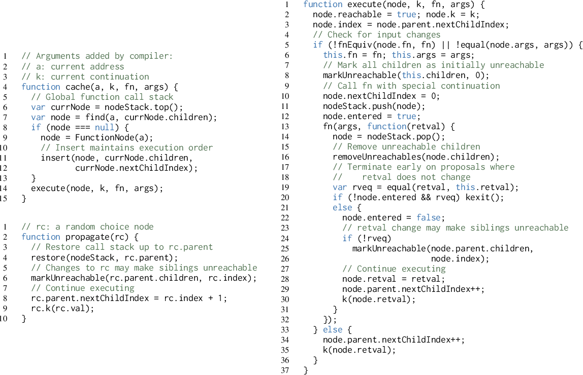 Figure 3 for C3: Lightweight Incrementalized MCMC for Probabilistic Programs using Continuations and Callsite Caching
