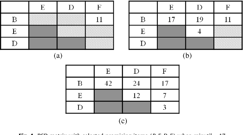 Fig. 4. RSD matrix with selected promising items fB; E;D; Fg when minutil ¼ 17.